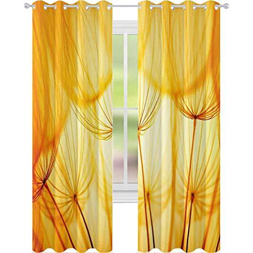 Cortinas para dormitorio, diseño de flores de diente de león con semillas de jardín en verano caluroso, 96 x 84 pulgadas, cortinas opacas para la sala de estar, Merigold y blanco
