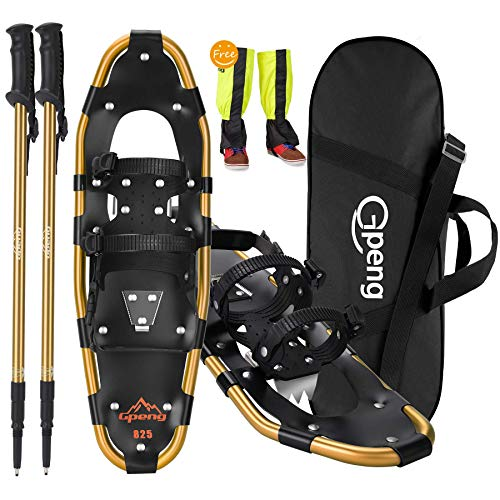 """Gpeng 4-in-1 Xtreme Lightweight Terrain Snowshoes for Men Women Youth Kids, Light Weight Aluminum Alloy Terrain Snow Shoes with Trekking Poles and Free Waterproof Leg Gaiters, 14""""/21""""/25""""/27""""/30"""""""
