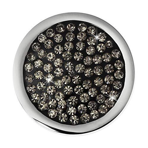 Amello Damen Coin für Coinsfassung mit Zirkonia grau 25mm Edelstahlschmuck ESC350K
