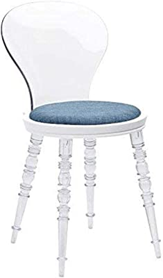 Design Guild Wynona Clear Chair with White Seat and Blue Cushion