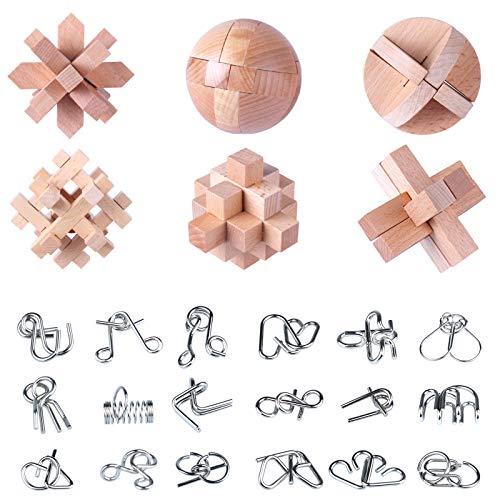 GUDA para Calendario Adviento,24 Piezas Rompecabezas Metal + Juegos de Ingenio de Madera Juegos de Rompecabezas para Niños y Adultos