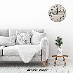 PUYANG 12 Vintage Arabic Numeral Design Silhouette of Horizontal Mountains and The River with Small Rustic Country Tuscan Style Decorative Round Plywood Wall Clock