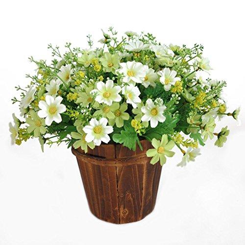 LPxdywlk 1 Ramo De 28 Flores Artificiales Flores Falsas Lindo Crisantemo Familia Boda Jardín Decoración Blanco