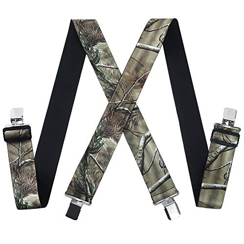 Mens Utility Suspenders X Shape - Wide 2' Solid Straight Clip...