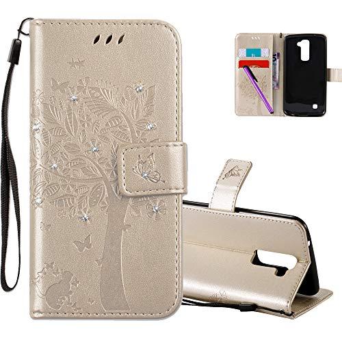 COTDINFOR LG K10 Case Premium PU Custodia in Pelle Cash Pocket Flip Custodia a Portafoglio Chiusa con Slot per Carta di Credito per LG K10 Gold Wishing Tree with Diamond KT.