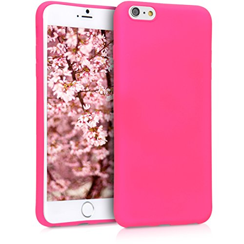 kwmobile TPU Silicone Case Compatible with Apple iPhone 6 Plus / 6S Plus - Soft Flexible Protective Phone Cover - Neon Pink