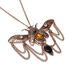 Scarab Beetle Steampunk Necklaces Classic Cyber Victorian Punk Mens Womens Jewellery Chain and Pendant Copper Vintage Cosplay Accessories Steam Punk Jewellery Chain Necklace for Men Women #1