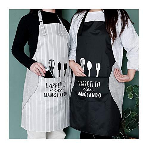 2 Piezas Delantal de Cocina de Cocina, Delantal Ajustable con Bolsillo, Delantal de mano borrable, Delantal universal Hombres y Mujeres para Hogar, Cocina,Restaurante,Cafetería (Rayas Grises + Negro)