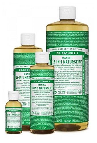Dr. Bronner´s Naturseife Mandel 18-in-1 Magic Soap natürliche Flüssigseife aus biologischem Anbau, vegan, keine Zusatzstoffe, Fair Trade zertifizierte Bioseife (1x475ml)