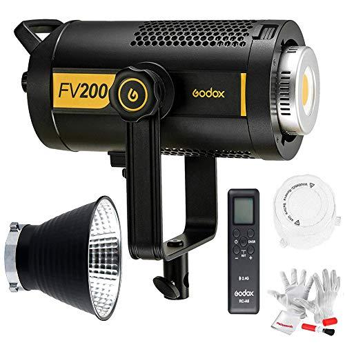Godox FV200 200W High Speed Sync Flash and Continuous LED Light, CRI 95+ TCLI 96+, 18000LUX, 1/8000S HSS, Built-in Godox 2.4G System, 1/8-1/1 Power Output, 8 FX Special Effect Modes