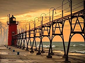 Arts Language Canvas Prints - Beautiful Lighthouse in South Haven Michigan Oil Painting Artworks On Canvas Wall Art Pictures for Office Home Decoration(20 x 20 inch,Frameless)