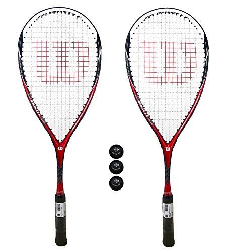 Wilson K115 - Juego de 2 raquetas y 3 pelotas de squash