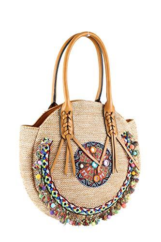 collezione alessandro Hippie Tasche San Francisco mit bunten Bommeln und Stickereien 34cm x 32cm x 8cm