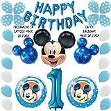 Shopama - Globos de decoración para cumpleaños 1 año Mickey azul celeste hinchables de helio Globos de látex y Mylar Set de 39 piezas
