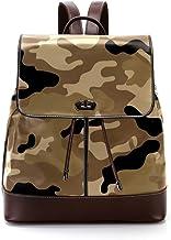 TIZORAX Camouflage Camouflage PU Leder Rucksack Mode Schultertasche Rucksack Reisetasche für Frauen Mädchen