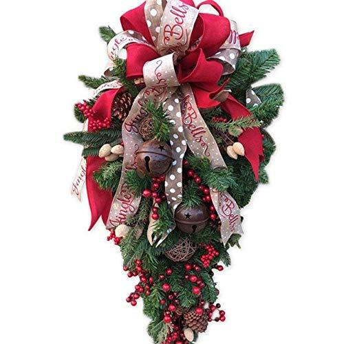 POUPDM decoración navideña Corona navideña con Puerta en Forma de lágrima Corona decoración de la Pared Accesorios para el hogar decoración navideña del jardín año Nuevo, Multi, L