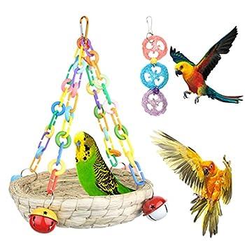 BundleMall Nid d'oiseau coloré en paille tissée à la main pour perroquet - Grand hamac confortable à mâcher - Accessoires pour cage à perruche (lot A)