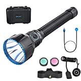 SKYBEN Olight Javelot Turbo 1300 Lumes Neutral White LED Dual Switches Rechargeable Tactical Flashlight with Built-in Battery Pack,Hunting Bundle with Flashlight Mount and Remote Switch(Black)