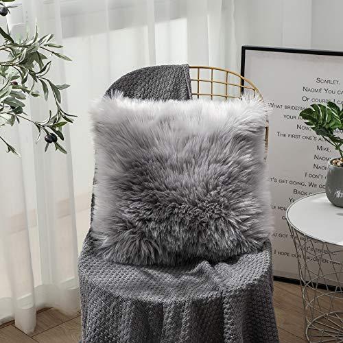 OYIMUA Funda de cojín Decorativa de Piel de Oveja sintética de Pelo Largo para sofá, cojín de imitación (Gris, 50 x 50 cm)
