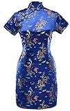 7Fairy Women's VTG Navy Blue Dragon Mini Chinese Prom Dress Cheongsam Size 2 US
