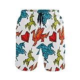 CODOYO Bañador para Hombre Origami Dragon Unicorns Heart Shorts de natación con cordón Bañador para Entrenamiento en Vacaciones, para Vacaciones en la Piscina
