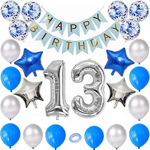 Kiwochy plata azul 13 Cumpleaños Decoraciones 13. Decoración cumpleaños Niños Decoración cumpleaños azul Cumpleaños número 13 Globos Cumpleaños número 13 globo para chicas Niños cumpleaños