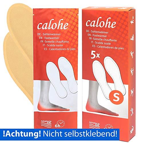 calohe Fußwärmer - Sohlenwärmer für die kalte Jahreszeit I Wärmepad für die Füße und Zehen I 10x Wärmesohlen, wärmende Einlegesohlen für Schuhe, Größe S