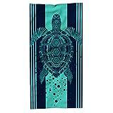Hexagram Turtle Beach Towel,Tropical Blue Microfiber Bath Towel...