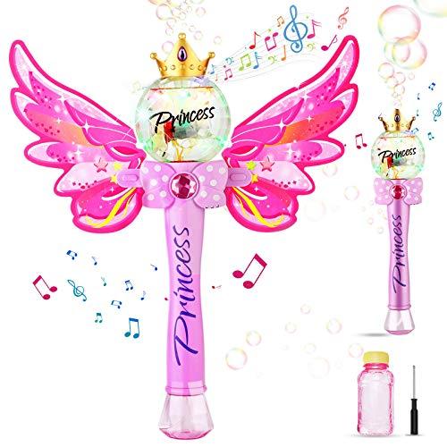 Ucradle Bubble Machine, Zauberstab Seifenblasenmaschine mit Musik & Licht für Mädchen Kinder, Magic Wand Bubble mit Seifenblasen Flüssigkeit, Outdoor Bubble Toys für Partys Geburtstag Geschenk