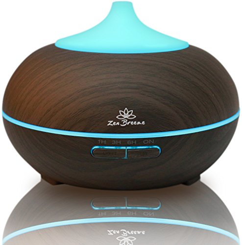 Zen Breeze Essential Oil Diffuser Dark Wood - Aromatherapy...