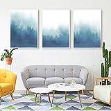 VVSUN Azul Minimalista Paisaje Abstracto ilustración Lienzo Arte Pintura impresión Cartel Imagen Pared Sala de Estar decoración del hogar, 40x60cmx3Pcs(sin Marco)