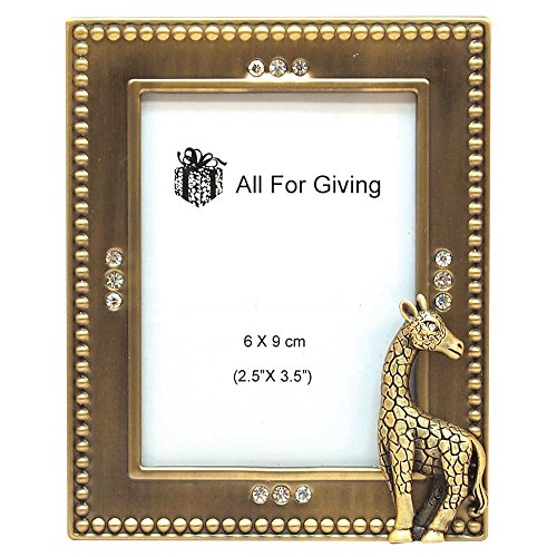 All For Giving Giraffe Picture Frame, 2.5 by 3.5-Inch, Brass