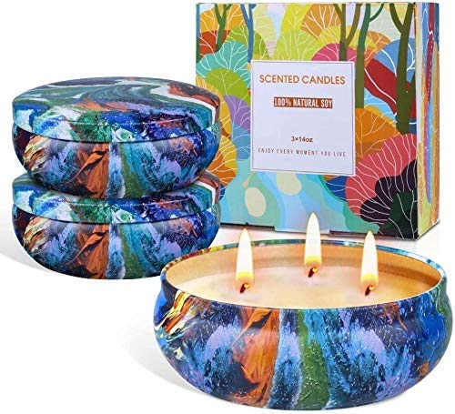 3 Pack 14oz Large Citronella Candle Gifts Set, Soy Wax Scented Candles Set, Lomus Scented Tin Citronella Candles, Outside Candle jar Candle for Indoor and Outdoor - 75 Hours Long Burning Time