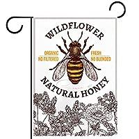 ガーデンフラッグ縦型両面 12x18in 庭の屋外装飾.手描きミツバチ野草ポピー