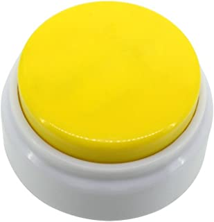 Neutral Mini Size Sound Button-20 Seconds Record Talking Button-High Sound Quality Answer Buzzer-Recording Press Button(Yellow+White)