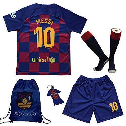 BIRDBOX Youth Sportswear Barcelona Leo Messi 10 Kids Home Soccer Jersey/Shorts Bag Keychain Football Socks Set (Home (New)