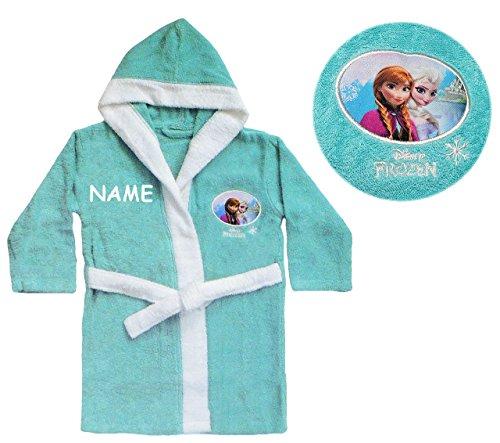 Unbekannt Frottee Bademantel - Disny die Eiskönigin - 5 bis 8 Jahre / Gr. 116 - incl. Name - 140 / 100 % Baumwolle - für Kinder / Mädchen - Prinzessin Princess - völlig..