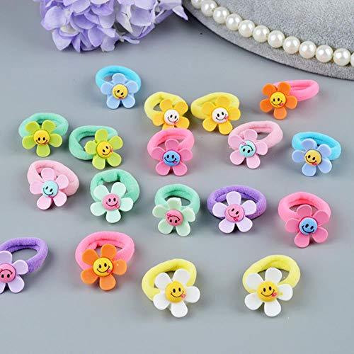 Gouen 10 stuks mooie bloem prinses hoofddeksel hoofdtooi kinderen haar touwen meisjes haaraccessoires kinderen elastische haarbanden, zonnebloem