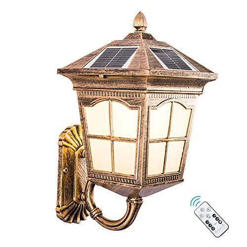 LED Solarleuchte Wandleuchte, Solar-LED Außen-Wand-Leuchten, Antik Retro Wandlampe, IP65 Wasserdichte Solar Lampen, Dawn Automatische Ein/Aus(Licht Sensor) Außenleuchten Outdoor Garten (Bronze)