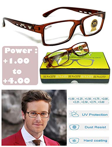 Sun City +1.00 to +3.00 Power Reading Glasses for Men and Women (+1.00 +1.25 +1.50 +1.75 +2.00 +2.25 +2.50 +2.75 +3.00) (+1.25, Brown)