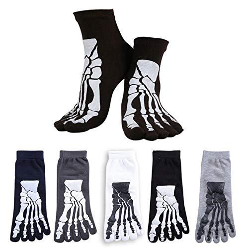 Linyena Herren Zehensocken Skelett Knochen Totenkopf fünf Finger Zehe Baumwolle Socken Separate Zehensocken für Halloween Party