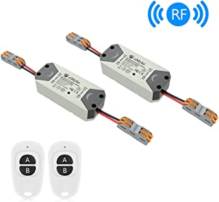 eMylo Smart Wireless Relay Switch DC 12V RF Relay Module One 1-Channel Remote Control Switch 5V-24V RF Switch Home Automation 433Mhz with Two Transmitters 2 packs