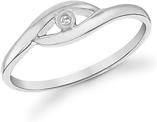 Tuscany Silver 标准纯银镀铑钻石镶嵌交叉戒指