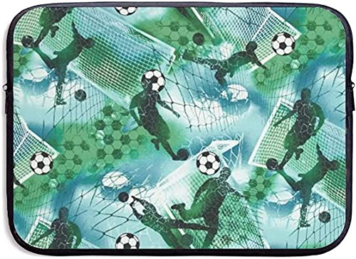 Sports Soccer Boy Soccer Blue Green Laptop Sleeve Bag Zipper Waterproof and Dustproof Protective Cover 13'