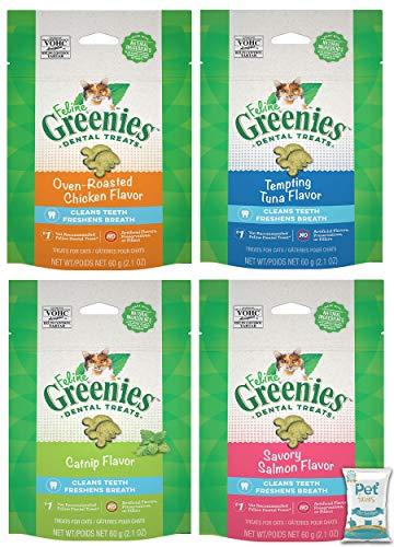 Greenies (4 Pack) Feline Dental Cat Treat Variety Bundle 4 Flavors - 2.1oz Each Bag, (1) Tempting Tuna, (1) Savory Salmon, (1) Oven Roasted Chicken, and (1) Catnip Flavor 10ct Pet Wipes