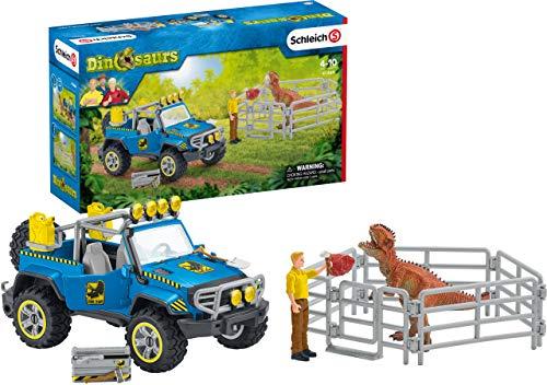 Schleich 41464 Dinosaurs Spielset - Geländewagen mit Dino-Außenposten, Spielzeug ab 5 Jahren