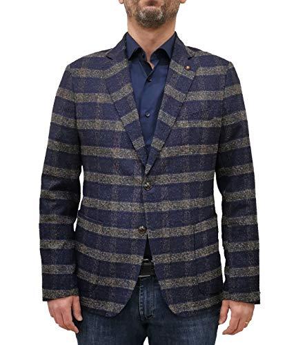 Exigo Chaqueta de hombre azul con fantasía Blazer de lana turquesa 46