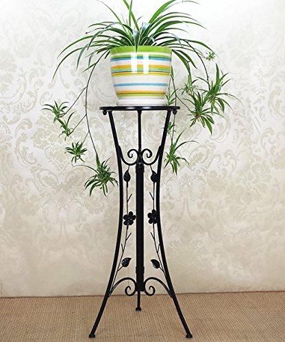 Étagères à fleurs d'intérieur en fer - Créatif - Pour le salon, le balcon - Pour pots de fleurs - Pliable - Blanc et noir - Couleur : A - Taille : 33 x 78 cm