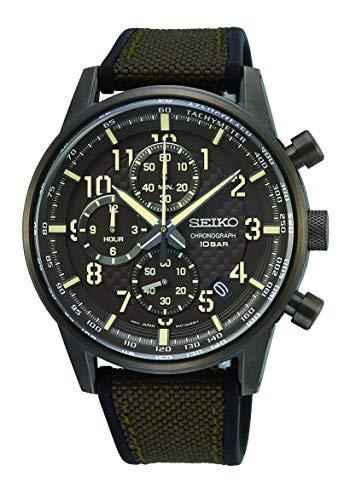 Seiko Chronograph Herren-Uhr mit Titankarbidauflage und Band aus Textil und Silikon SSB371P1