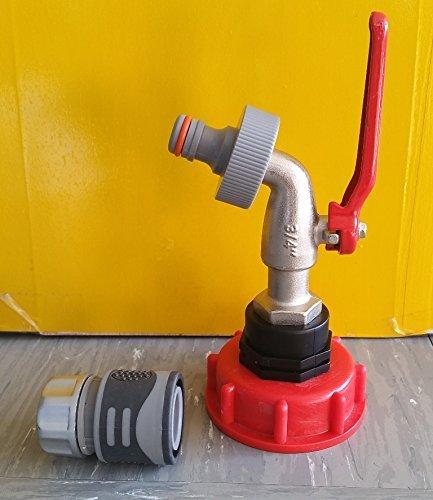 AMS60_133MK399+2146S Auslaufhahn S60x6 mit Schnellkupplung IBC-Container-Zubehör-Regenwasser-Tank-Adapter-Fitting-Kanister